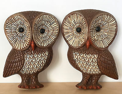 Vintage 70s Retro Foam Plastic Resin Pair of Brown OWLS Wall Hanging Art Decor