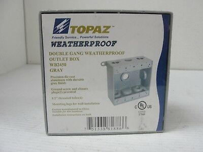(LOT OF 7) Topaz Double Gang Weather Proof Outlet Box, WB2450