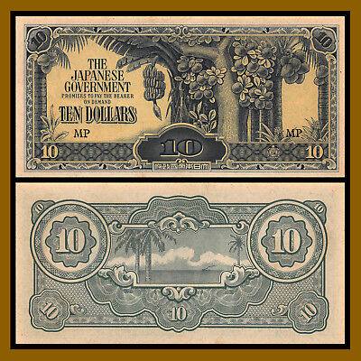 """Malaya 10 Dollars, 1942-1944 P.M7 """"MP"""" the Japanese Government occupation Unc"""