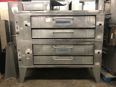 """Bakers Pride Y602 - Double-Stacked Gas Pizza Deck Ovens - 60"""" Deck - Refurbished"""