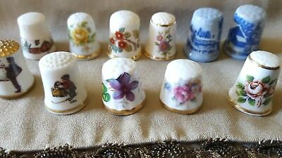 Vintage Mixed Lot 11 Sewing Thimbles Signed Hand Painted Excellent Quality 70's