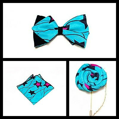 New Handmade African Ankara Silk Fabric Bow tie, Lapel, Pocket Square Gift Set