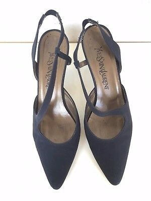 4b9a9114a Yves Saint Laurent Pumps Black Satin Slingbacks Heels Shoes Size 37.5 / 7.5  M
