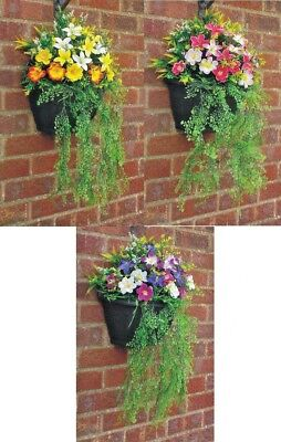 W/c (Greenwoods) Ready To Hang Garden Wall Hanging Basket & Artificial Flowers