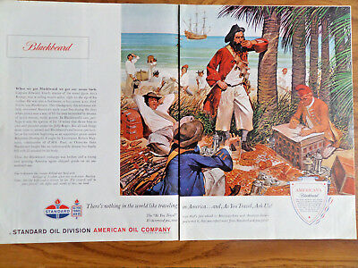 1962 Standard American Oil Ad Americana Series  Pirate Blackbeard