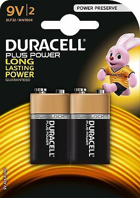 2 x 9v DURACELL PLUS SMOKE ALARM BATTERY 9 VOLT BLOCK FREEPOST