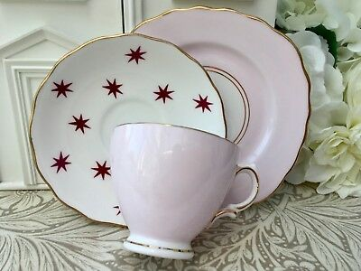 ROYAL VALE 1950s TRIO SET CUP SAUCER PLATE - PINK & RED STARS GILDED BONE CHINA