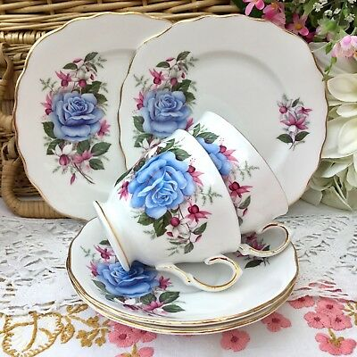 ROYAL VALE 1960s TRIO SET x2 CUP SAUCER PLATE BLUE ROSE FLORAL GILDED BONE CHINA