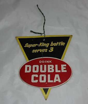 Vintage SUPER-King DOUBLE COLA SODA Light Fan PULL Advertising Sign Original