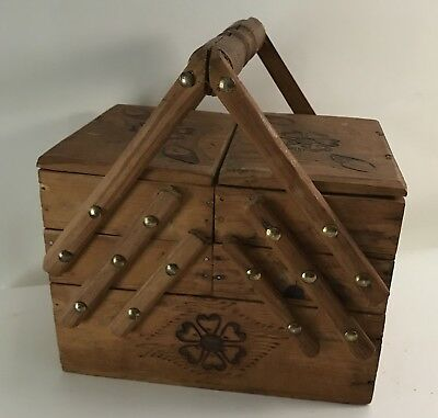 Vintage Wooden Floral Mini Picnic Sewing Basket Fold Out Trinket Box Folk