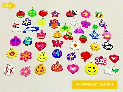 12 x NEW BEAUTIFUL COLOUR CHARMS RUBBER LOOM BANDS  BRACELET CRAFT PENDANT DIY