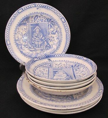 Staffordshire Punch Judy Child Bowls Plates Lot of Eight