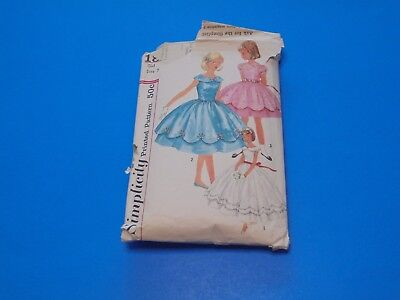 VTG 1950s Simplicity Sewing Pattern 1857 Girls Ankle Length Party Dress Size 7