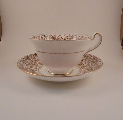 Rosina Cup & Saucer Brown Leaves W/Orange Dots Bone China Pattern 4892A