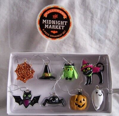 MIDNIGHT MARKET Halloween 8 pc Mini Ornament Set BAT Spider WITCH HAT Black Cat