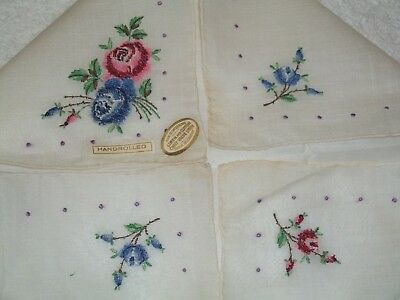 Vintage Ladies Handkerchief Embroidered & Petit Point Swtzerland Red Blue Roses
