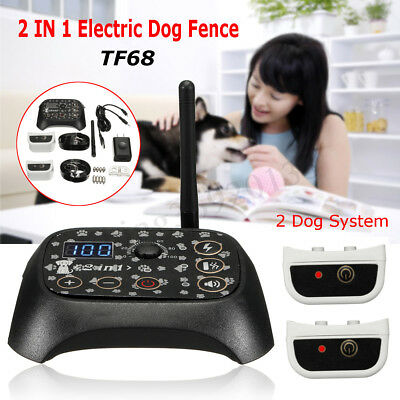 Wireless Electric 2 Dog Pet Fence No-Wire Containment System Rechargeable Collar