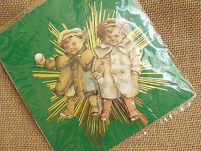 Little kid tinsel star Christmas tree ornament - ephemera, Victorian-style