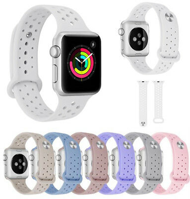 38/42mm Breathable Silicone Replace Sport Strap Band for Apple Watch Series3 2 1