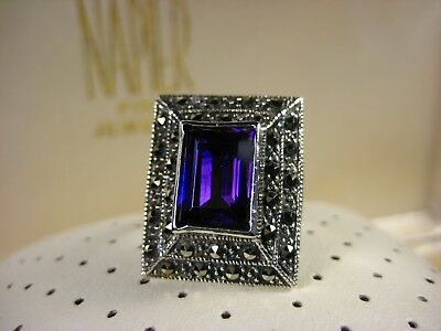 Vintage Art Deco Sterling Sliver Deep Purple Amethyst Rectangle Cut Ring Size 7