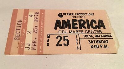 AMERICA Concert Ticket Stub March 25, 1978 ORU MABEE CENTER TULSA OKLAHOMA OK