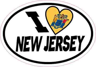 5x3.5 Oval I Love New Jersey Sticker Luggage Car Window Bumper Cup Flag Decal