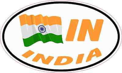 5X3 Oval IN India Flag Sticker Vinyl Travel Car Truck Bumper Flags Cup Decal