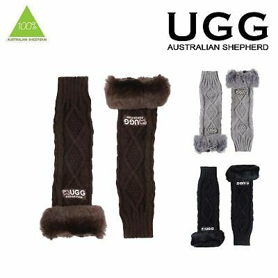 Ugg Princess Gloves Fur Trim Edge Fingerless Design One Size Black Choc Grey