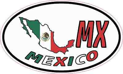 5X3 Oval MX Mexico Sticker Vinyl Country Flag Travel Vehicle Cup Hobby Car Decal
