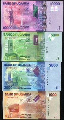 Uganda Set 4 Pcs 1000 2000 5000 10,000 Shillings 2017 P 49 50 51 52 Unc
