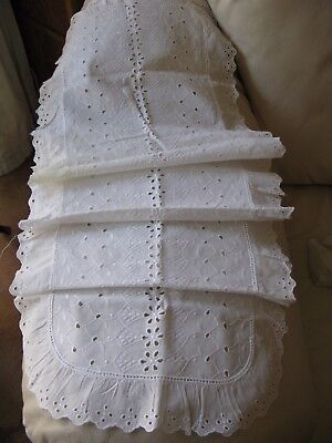 Antique White Work Eyelet Embroidery Lace French Doll Craft Cotton Runner 50x14
