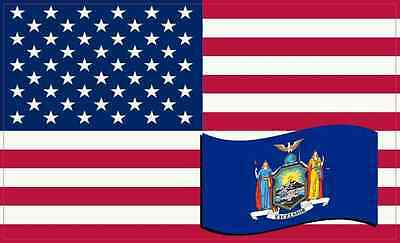 5 X 3 America and New York Flag Magnet Vinyl Patriotic Car Decal Vehicle Magnets