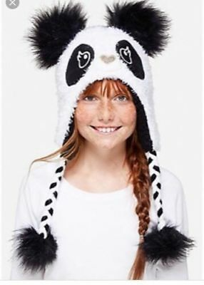 Super Cute Cozy Justice Panda Beanie Hat Earflap Aviator/Trapper Nwt One Size