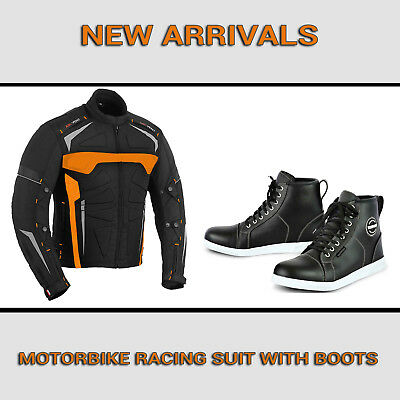 Motorcycle Motorbike Mens Jacket Waterproof Textile Black CE Armoured Boot Shoes