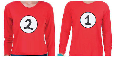 Adult Kids Dr Seuss Cat in the Hat Thing 1 and Thing 2 Costume Book Week