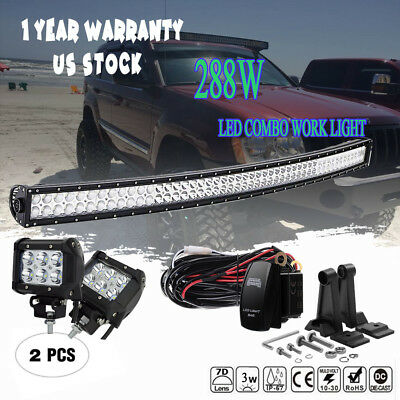 """4"""" Pods Cube+52"""" 50"""" Curved LED Light Bar Combo 1993-98 Jeep Grand Cherokee ZJ"""