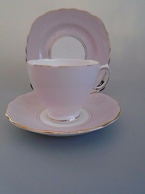 VINTAGE 40's ROYAL VALE HARLEQUIN BALLET PASTEL PINK  ENGLISH BONE CHINA TRIO