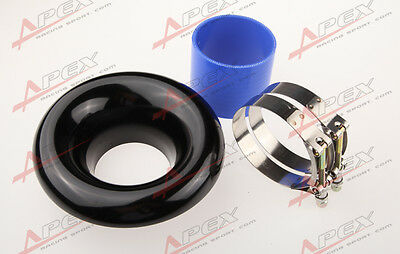 """3.5"""" Universal Velocity Stack For Cold/Ram Engine Air Intake/Turbo Horn Black"""