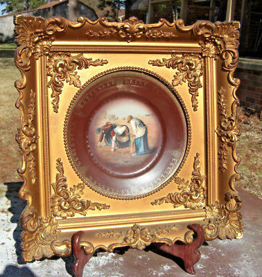 Framed 19th Century Royal Vienna THE GLEANERS Porcelain Plate Beehive # 1/ 1001