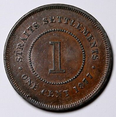 1877 Straits Settlements Cent KM# 9 aEF Coin Rare
