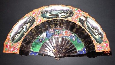 Antique Chinese Export Hand Painted Landscape View Scene Horn Cabriolet Fan