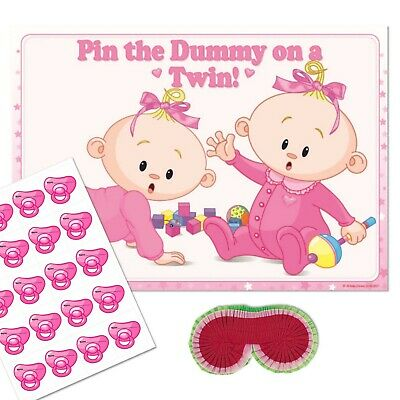 TWIN BABY SHOWER GAME - Pin the Dummy / Pacifier Blindfold Pink Girl 10 - 40