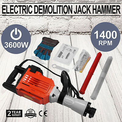 3600W Electric Demolition Jack Hammer Construction Concrete Breaker Punch 2 Bits