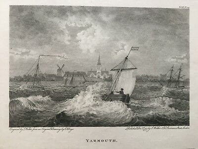 1797 Antique Print;  View of the Great Yarmouth, Norfolk after Edward Dayes