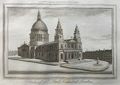 1784 Antique Print; St Paul's Cathedral, London