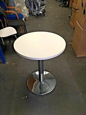 ALLERMUIR DINING HEIGHT TABLE WITH ROUND TOP WHITE 600mm dia MFC & Chrome Base