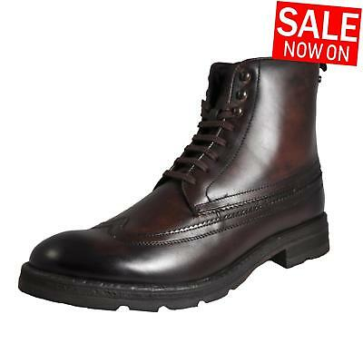 Base London Valiant Men's Leather Classic Formal Dress Chelsea Brogue Boots Brow