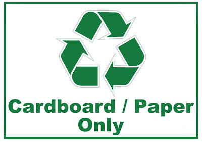 Cardboard / Paper Only Waste Bin Self Adhesive Sticker with Recycle Logo Sign