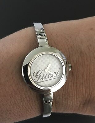 "56fe0928207 gucci women s lovely silver watch gvs precise time fits 6 1 2"" fast ship"