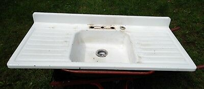 Vintage Enamel Single Basin Sink with Double Drain Boards!